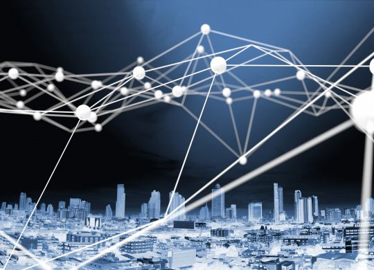 Internet of things , Blockchain network , Machine learning , deep learning and neural networks concept. White Distributed connection atom with blue city background , 3d rendering