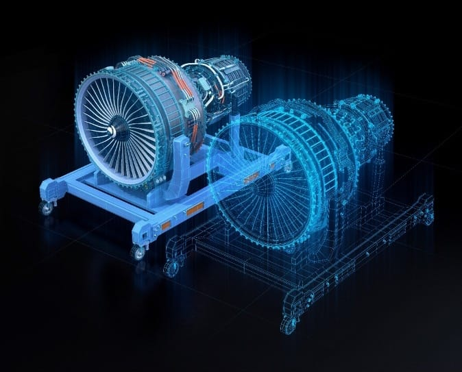 Jet engine and its digital twin
