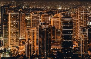 Night photo of city with buildings outlined